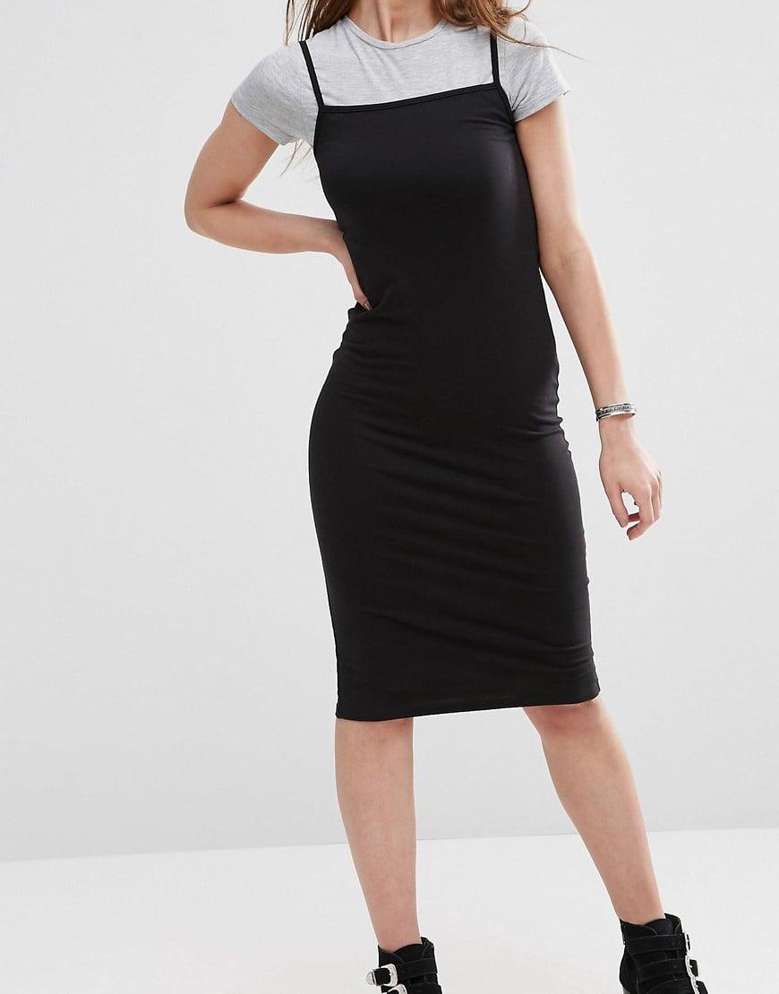 Lyst Asos T Shirt Cami Midi Dress In Black