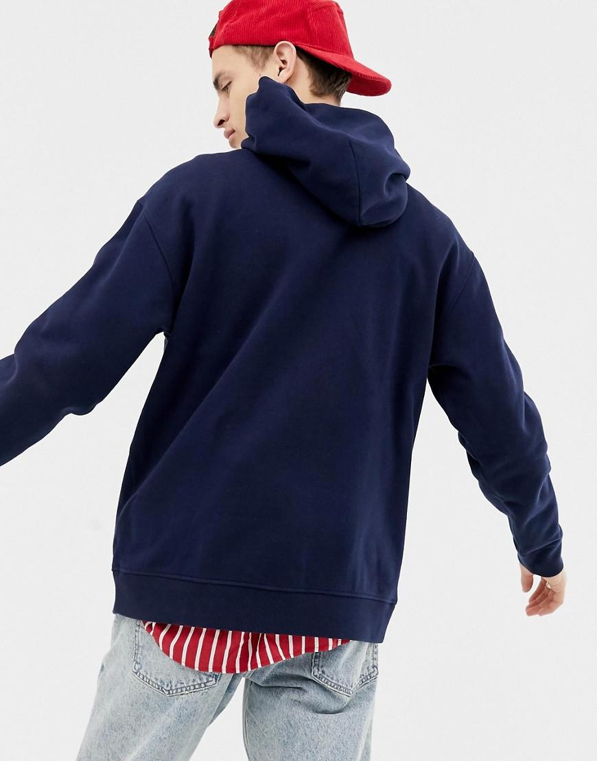 44a54e28 Tommy Hilfiger Relaxed Fit Fleece Hoodie With Chest Stripe And Logo In Navy  in Blue for Men - Lyst