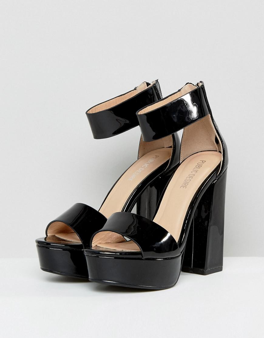 138fe817d823 Public Desire River Black Patent Platform Sandals in Black - Lyst