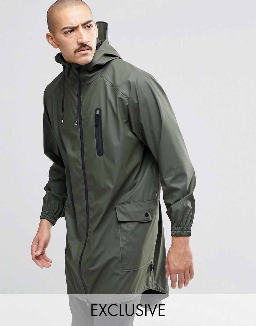 Rains Waterproof Parka Coat In Green on Color Learn Rain