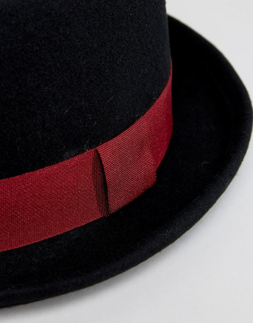 f03e6657 ASOS Pork Pie Hat In Black With Burgundy Band Detail in Black for ...