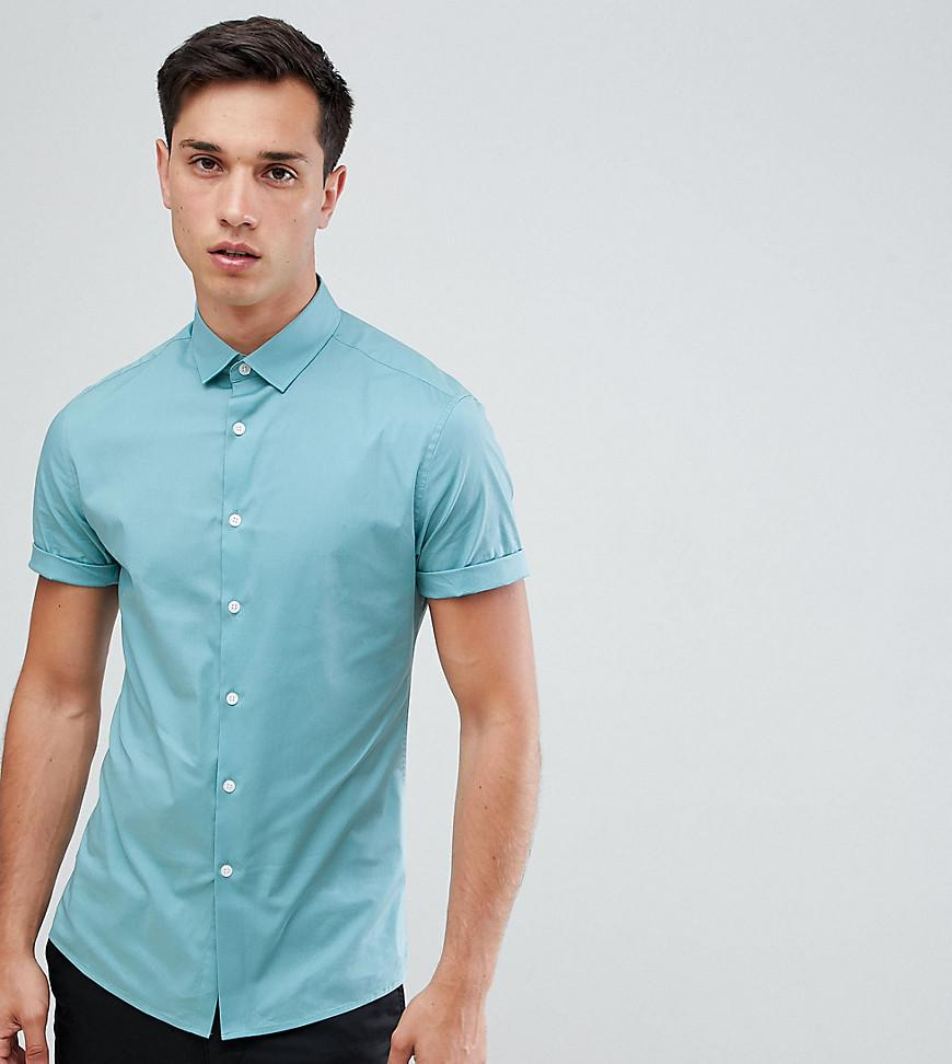 Asos design tall skinny oxford shirt in green with short Shirts for thin guys