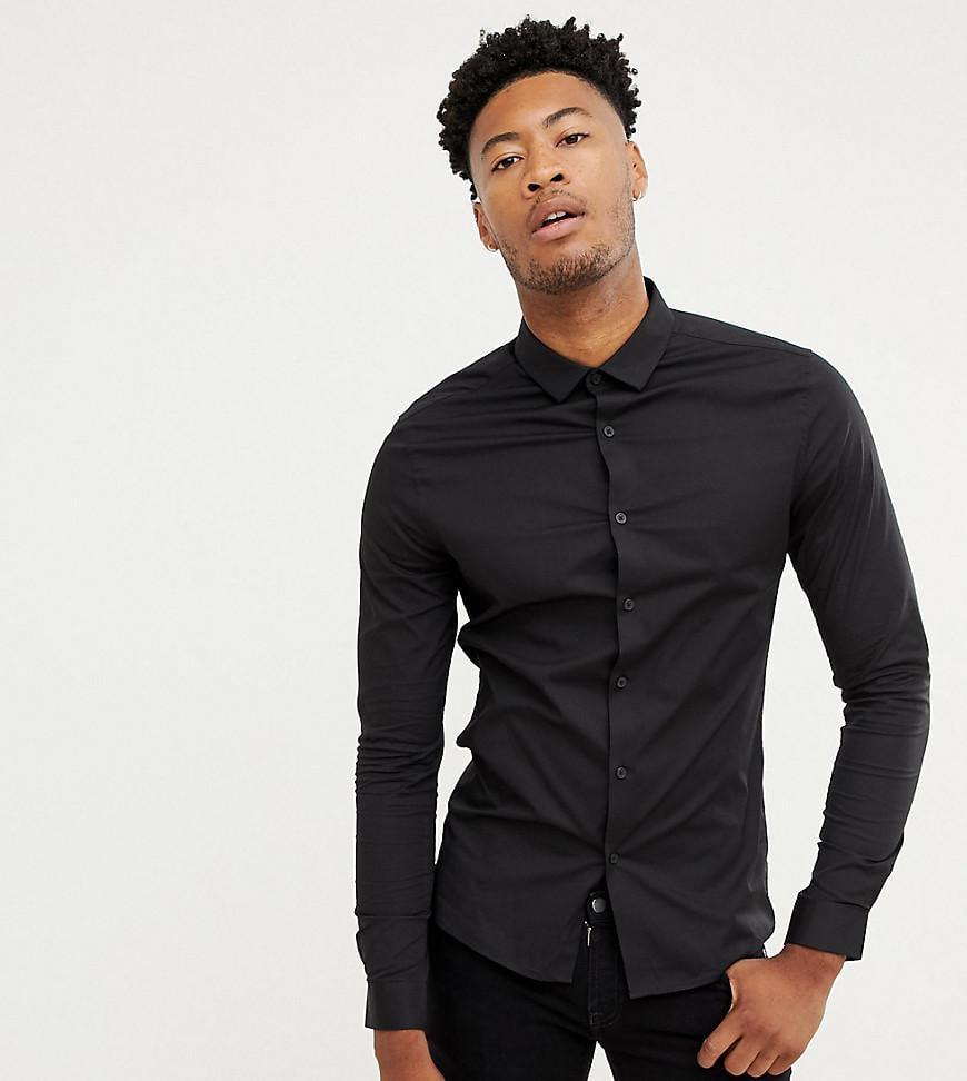 899f3f380 Lyst - Asos Design Tall Skinny Shirt In Black in Black for Men