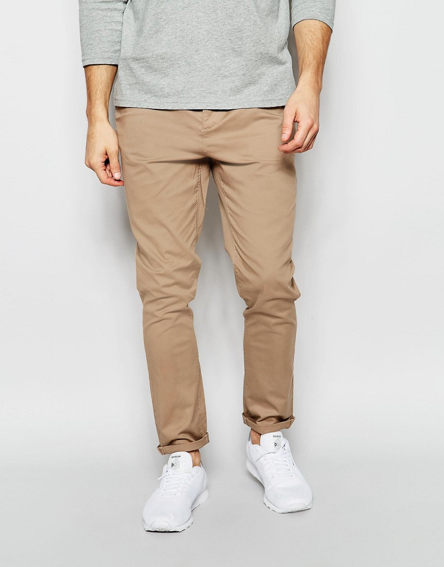 Lyst Asos Tapered Chinos In Natural For Men