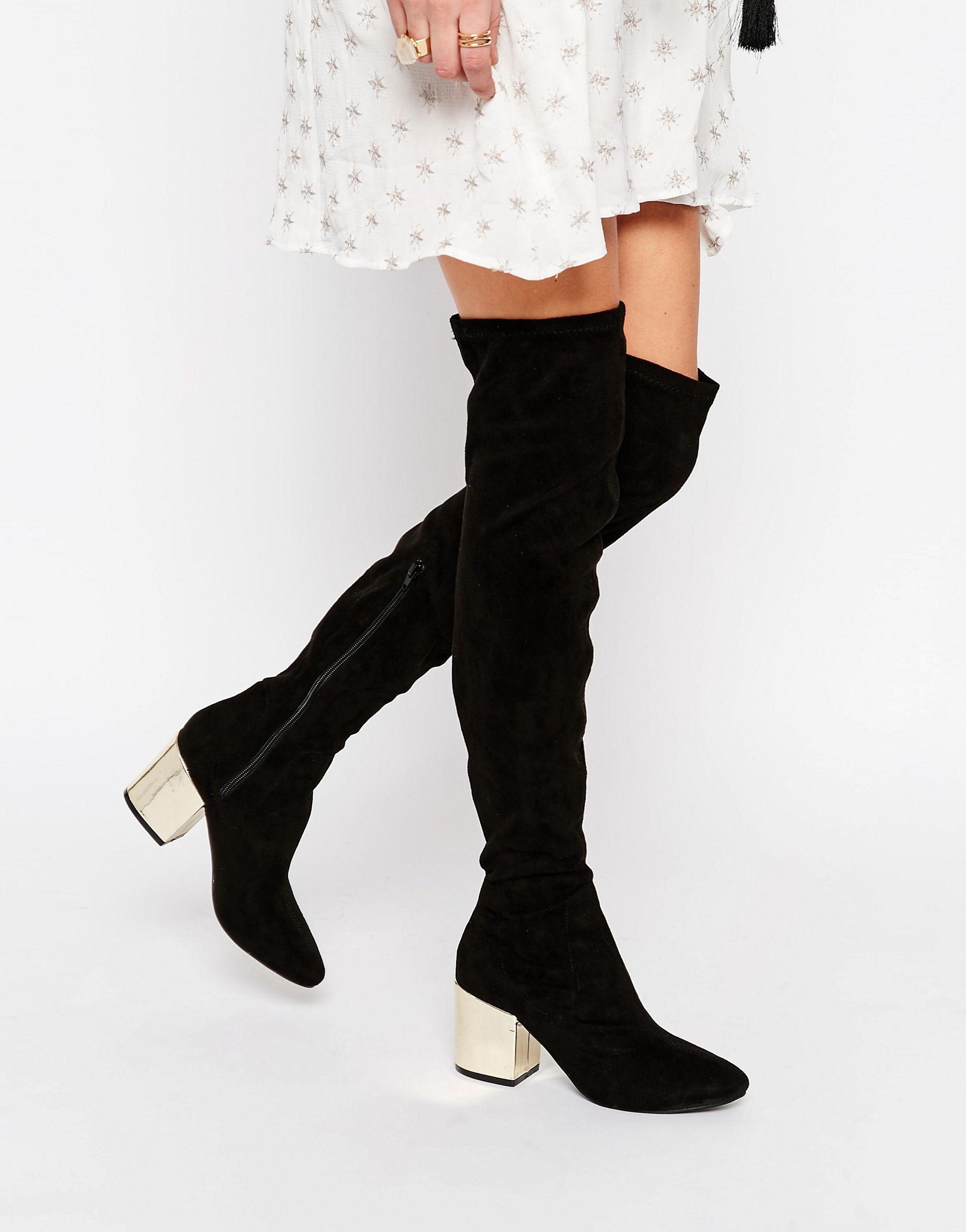 Public Desire Anita Black Metallic Heel Over The Knee Boot In Black Lyst