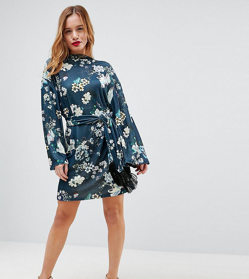 Lyst - Robe courte imprim oiseaux et manches kimono avec ceinture ... 403876c5801