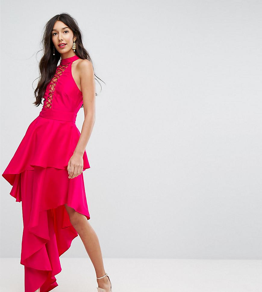 1f5816c7b93 ASOS Sexy Lace Up Tiered Maxi Dress in Pink - Lyst