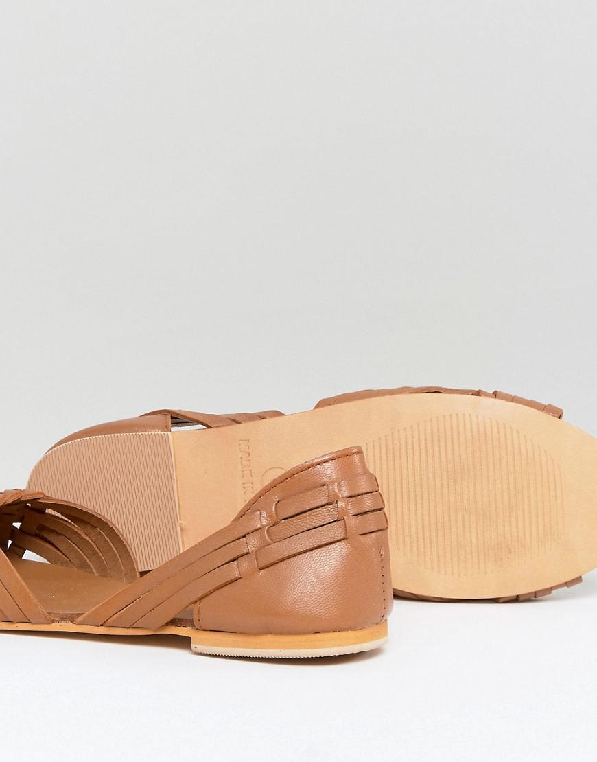 Asos Chaussures D'été En Cuir Juna - Cuir Beige Rw8VGqre7