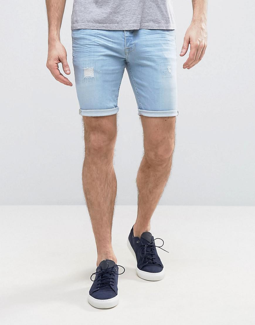 Denim Shorts In Slim Blue With Thigh Rip And Turn Up Raw Hem - Bleach blue Asos GcmcVEApPp