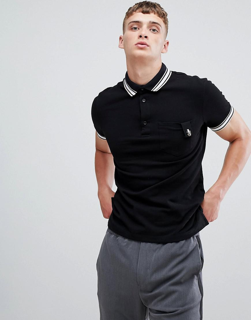 d4a1dfdb Class Roberto Cavalli Polo Shirt In Black With Striped Collar in ...