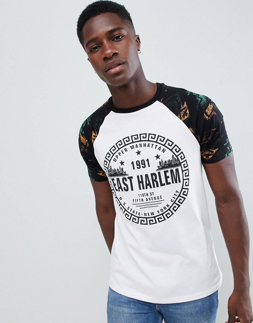 024b27ab0325 Lyst - ASOS T-shirt With Aztec Raglan Sleeve And City Print in White ...
