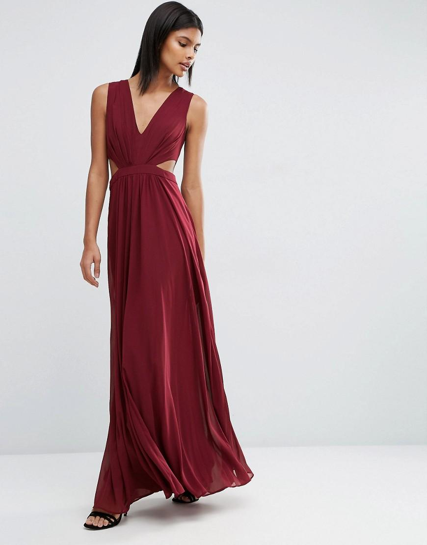 Asos Side Cut Out Maxi Dress In Red Lyst