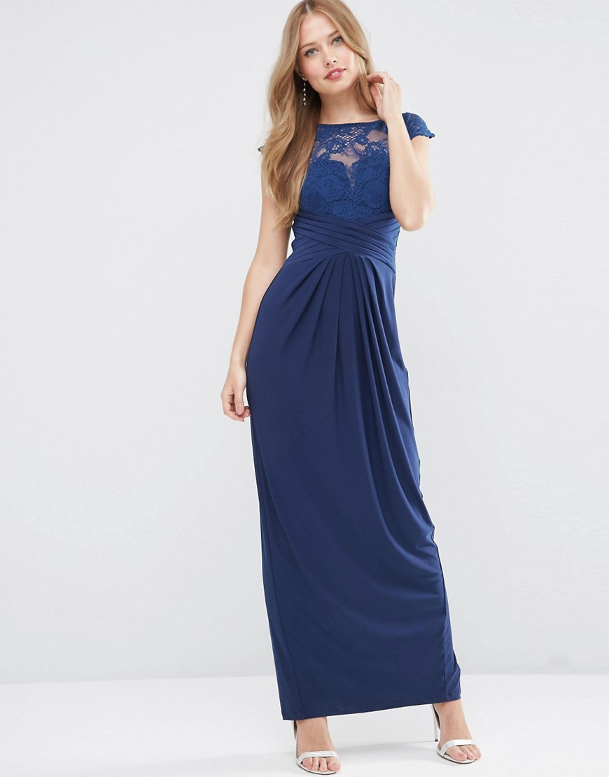 Asos wedding lace top pleated maxi dress in blue navy lyst for Navy maxi dresses for weddings