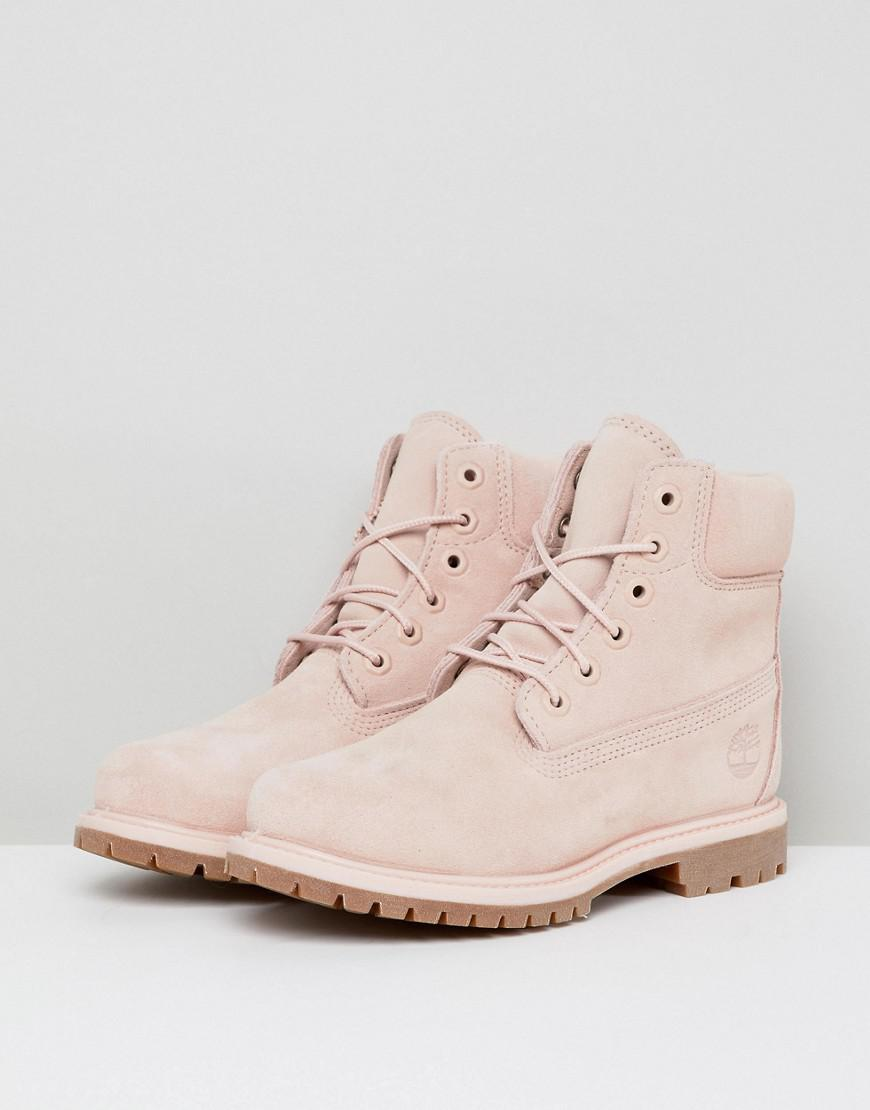 282af07642b Timberland 6 Inch Premium Rose Suede Flat Boots in Pink - Lyst