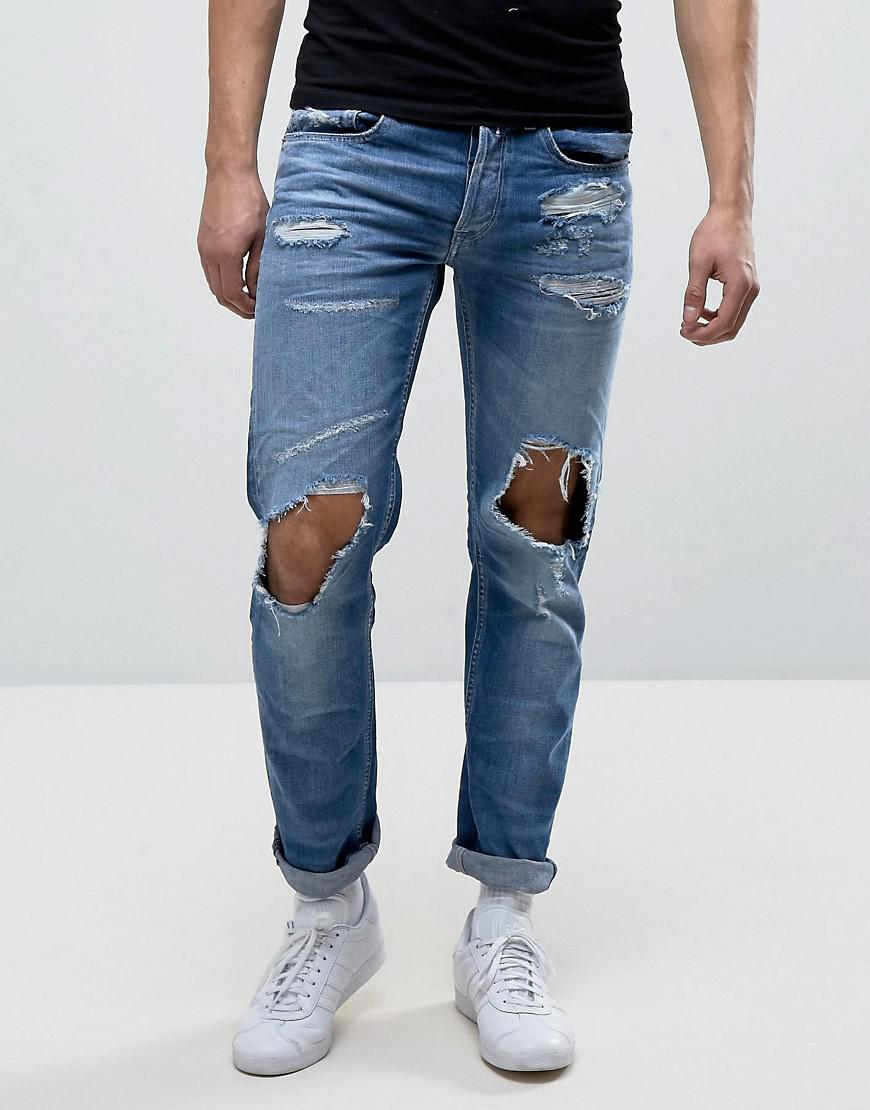 Lyst - Replay Grover Straight Fit Jeans With Abraisions In Light ... 997f3d8cf9