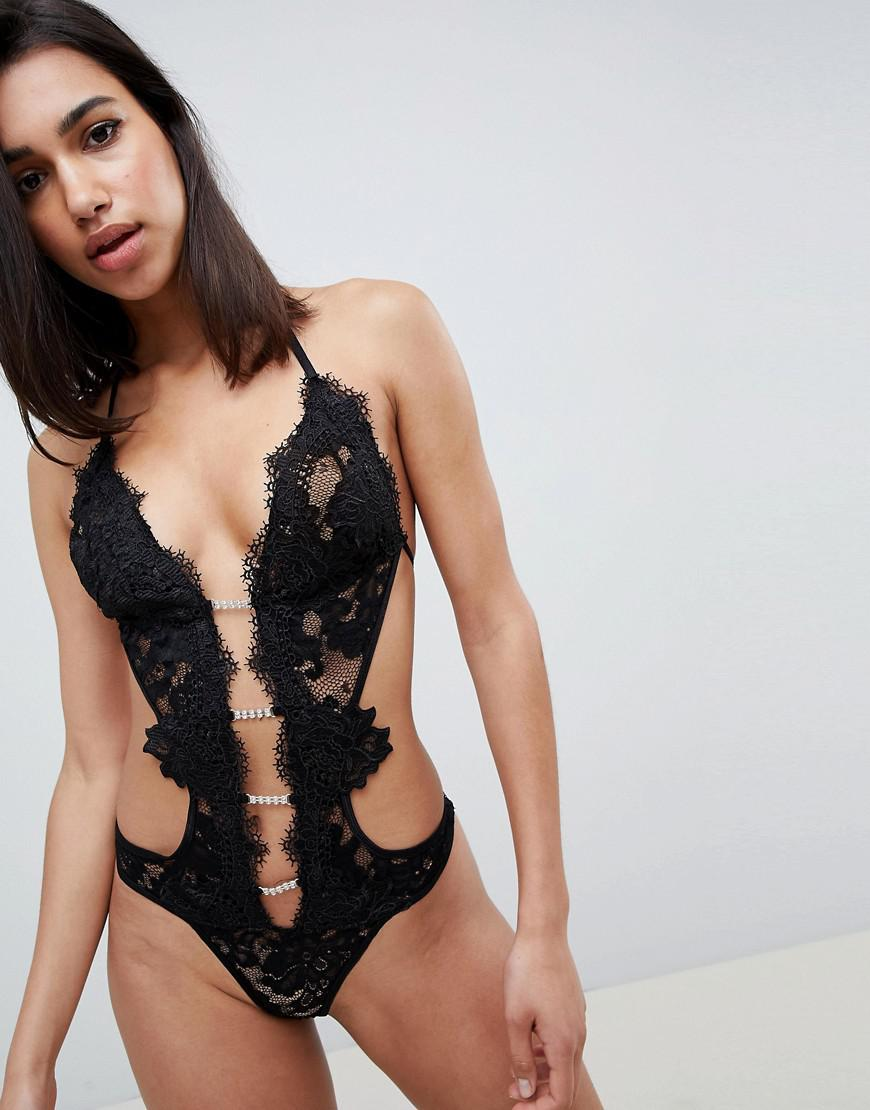24a2973a3cede9 Lyst - Ann Summers Kady Lace Sleeveless Cut Out Body in Black