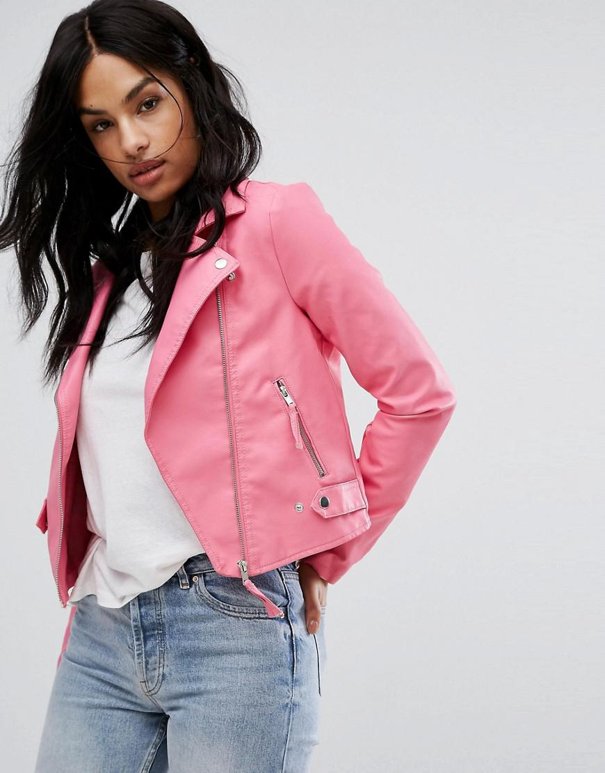 Vero Moda Leather Look Biker Jacket In Pink - Lyst