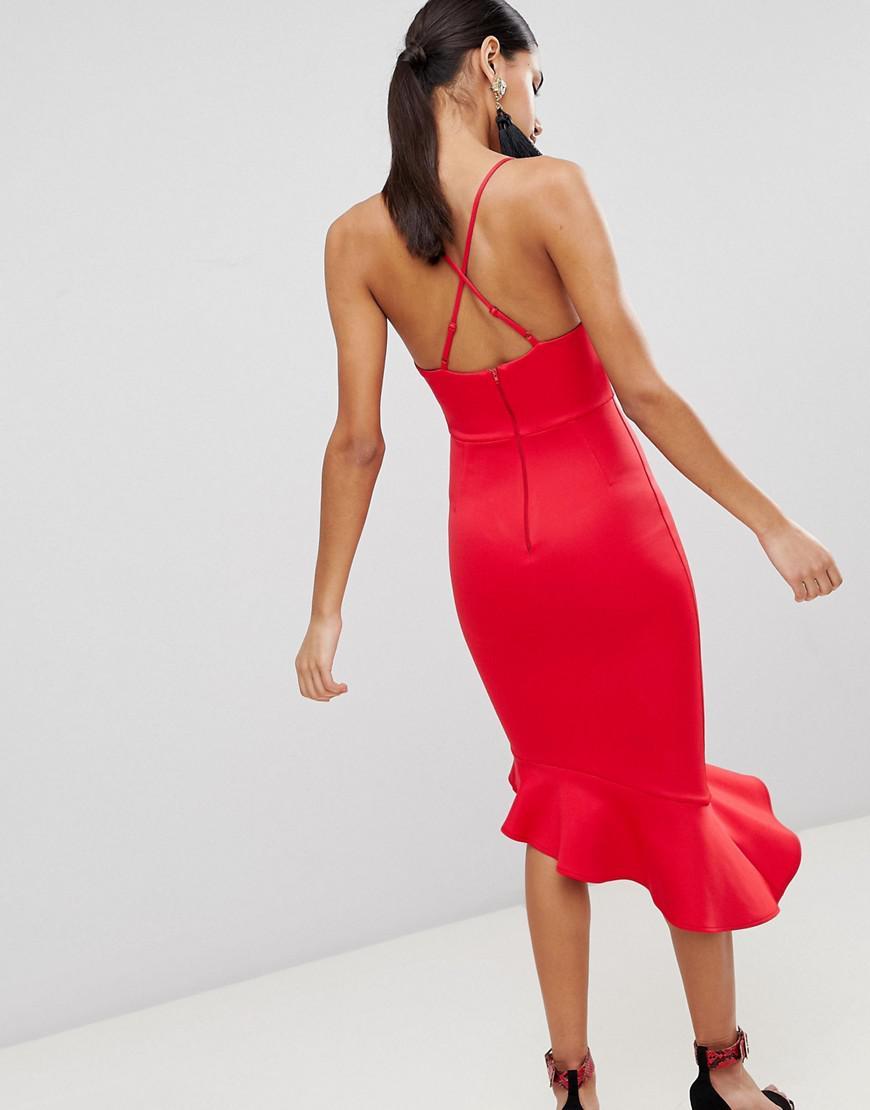 4a7824b22f3cb ASOS Asos Scuba Cami Pephem Midi Dress in Red - Lyst