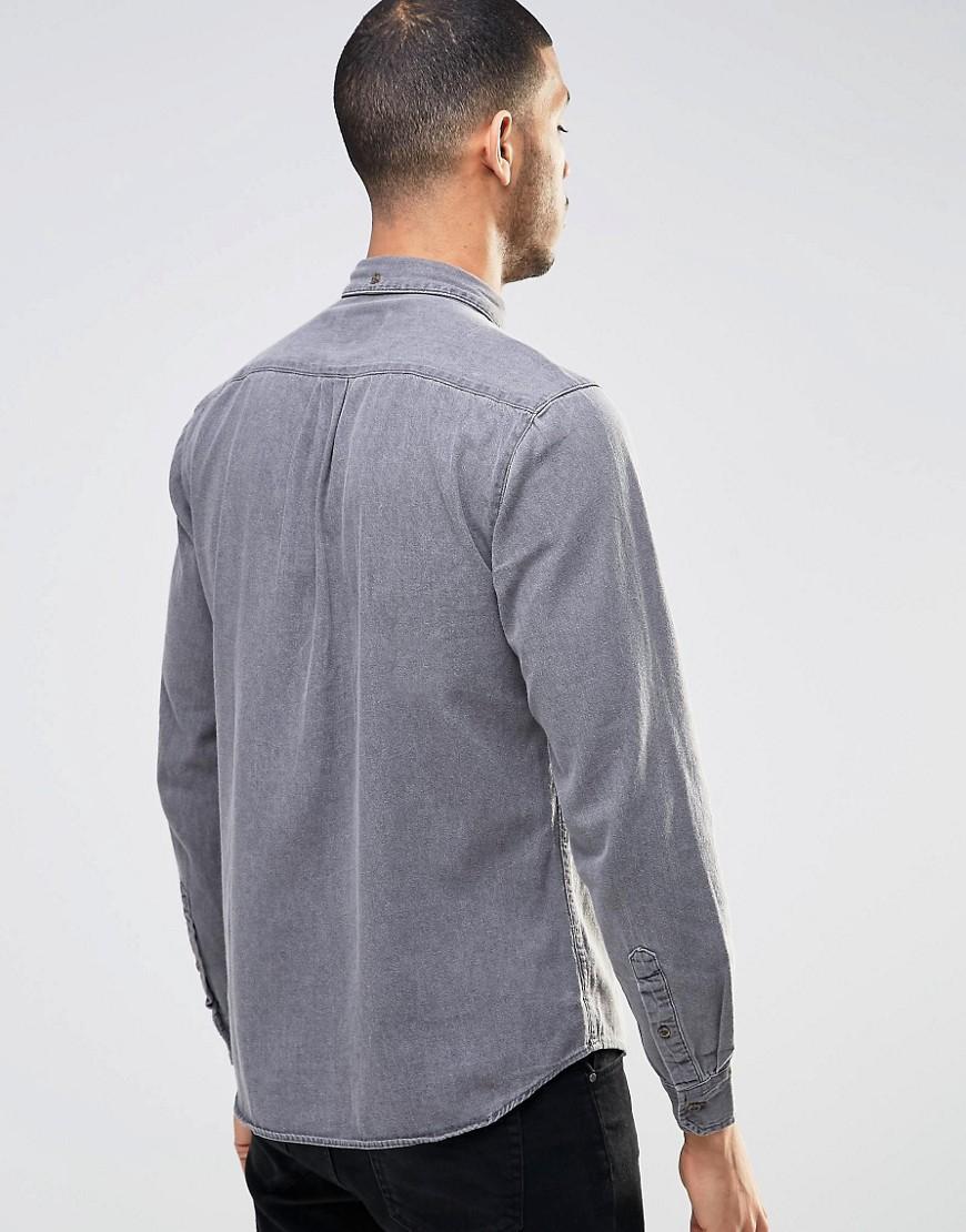 Pull bear denim shirt in light wash grey in regular fit in for Bear river workwear shirts