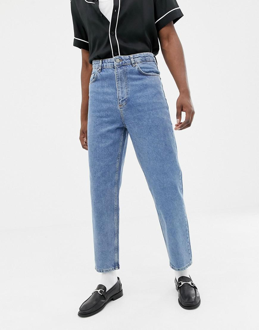 Lyst Asos High Waisted Jeans In Vintage Mid Wash Blue In Blue For Men
