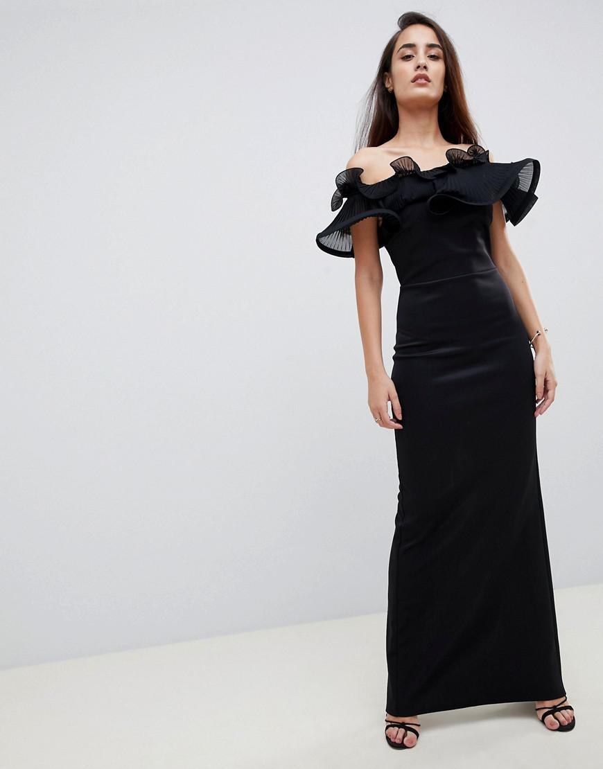 4a1675b87b93 Lipsy. Women's exaggerated Ruffle Bardot Maxi Dress In Black. $124 $56 From  ASOS