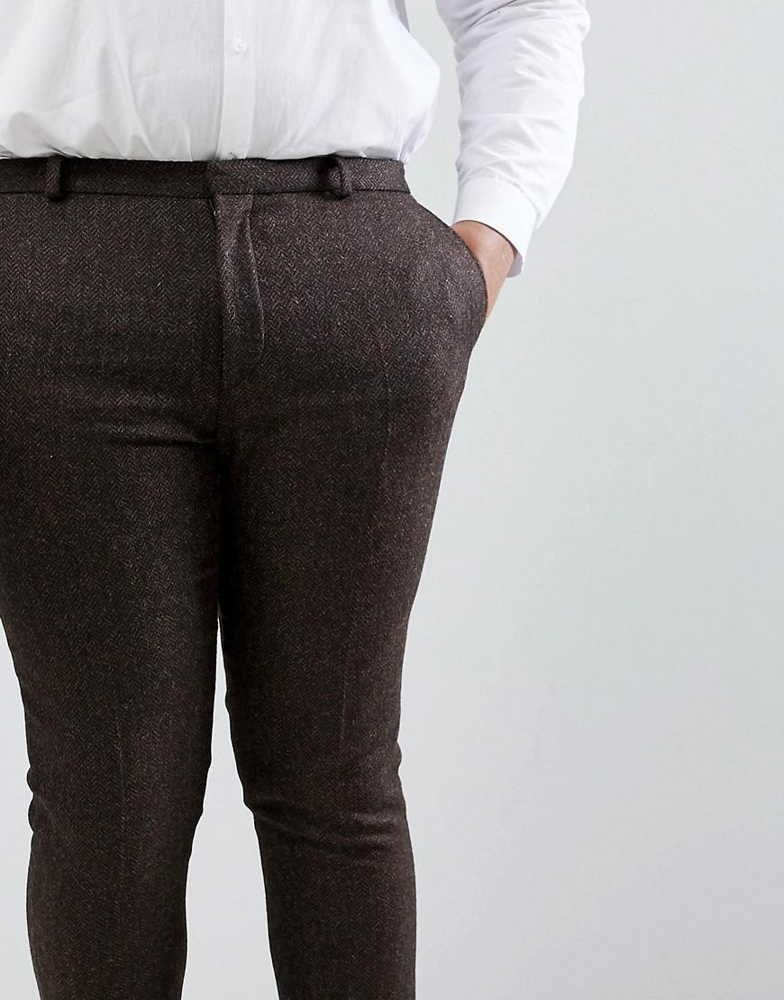 Woven In England PLUS Skinny Cropped Trouser In Herringbone - Brown Heart & Dagger gZPJiVAO