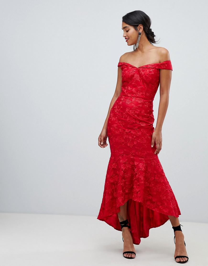 Lyst - Chi Chi London Bandeau Embroidered High Low Maxi Dress In Red ... fd03aa8ff