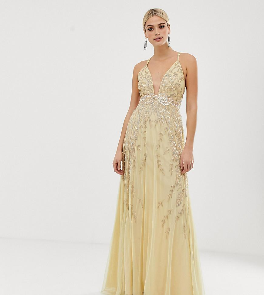 4be2ed95bb7 ASOS Asos Design Tall Embellished Maxi Dress in Yellow - Lyst