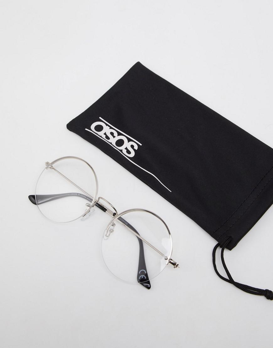 93225a2008 Lyst - Asos Round Glasses In Silver With Laid On Clear Lens in Metallic for  Men