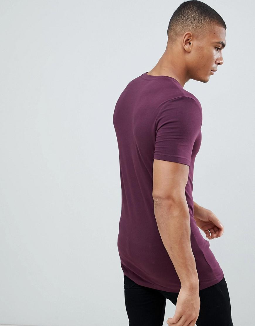 08d171fa ASOS Longline Muscle Fit Crew Neck T-shirt With Stretch 3 Pack Multipack  Saving in Purple for Men - Lyst