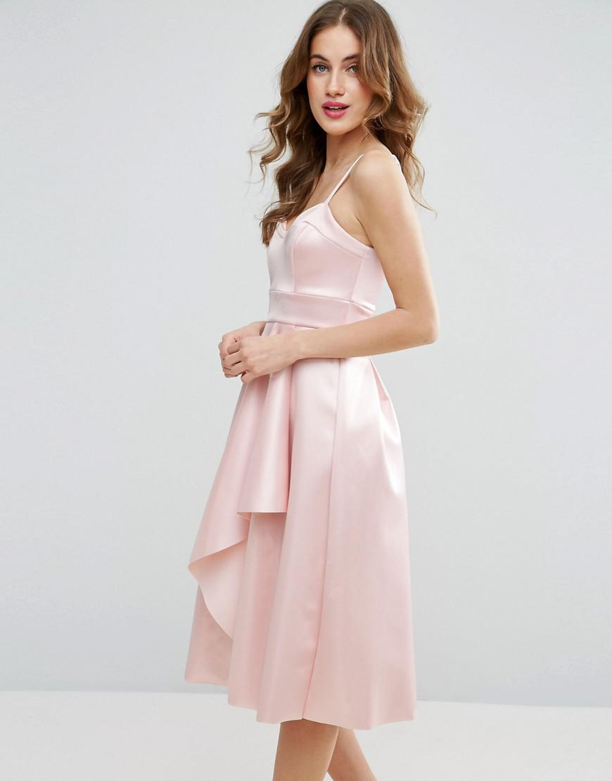 55e10a4dd0d9 Lyst - ASOS Satin Scuba Seamed Waterfall Debutante Midi Dress in Pink