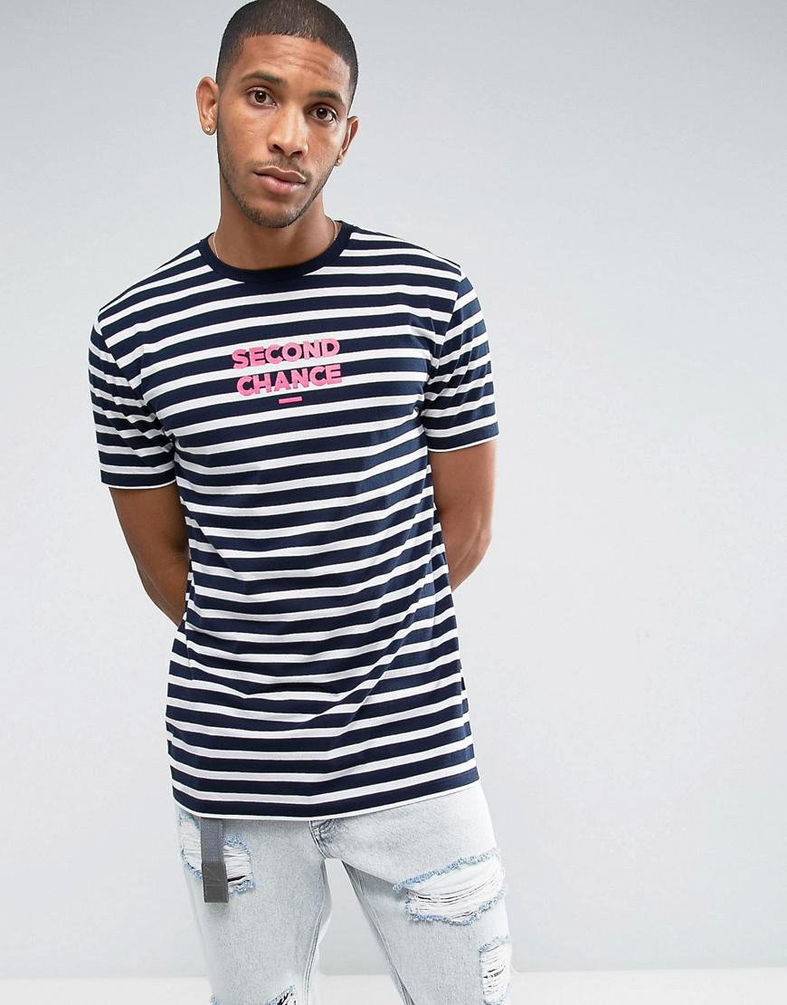 Lyst asos longline stripe t shirt with chest print in for T shirt printing mobile al