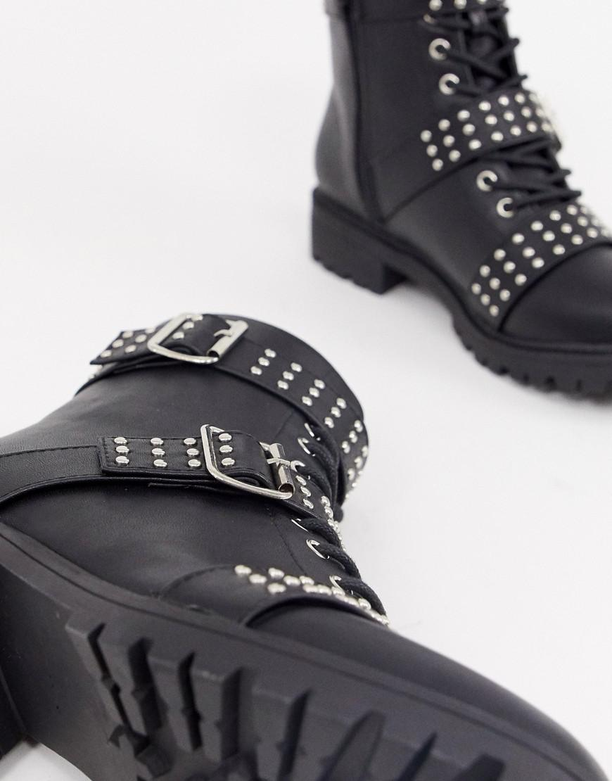 525d5e2cbaa4 PrettyLittleThing Biker Boot With Stud Detail In Black in Black - Lyst