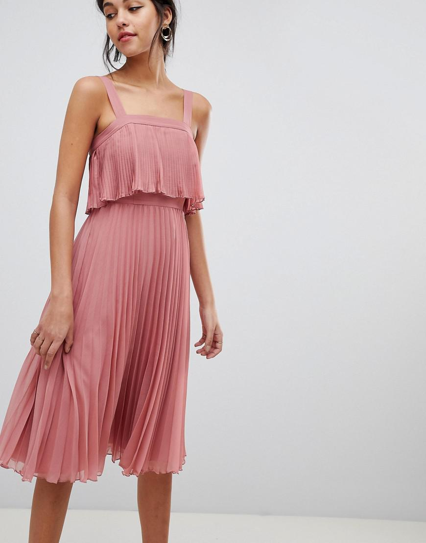 f8555143389 Lyst - ASOS Double Layer Pleated Cami Midi Dress in Pink - Save 13%