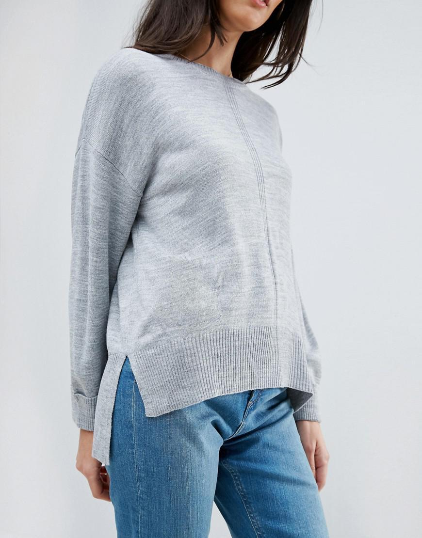Asos Boyfriend Sweater In Oversized Fit in Gray | Lyst
