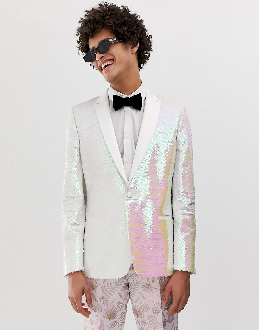 6a306b6cada Lyst - ASOS Skinny White Sequin Blazer in White for Men