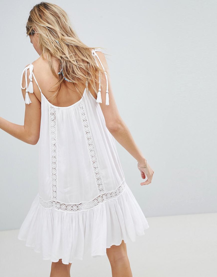 ebd15c3feb5 Accessorize Lace Insert Strappy Beach Dress in White - Lyst