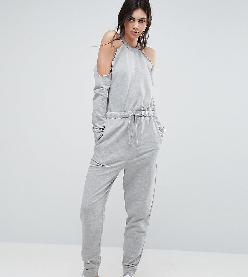 8791f7ac293 Lyst - ASOS Cold Shoulder Sweat Jumpsuit in Gray