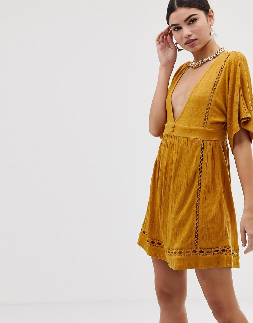 ccfb13252a ASOS Slubby Mini Dress With Ladder Trims in Yellow - Lyst