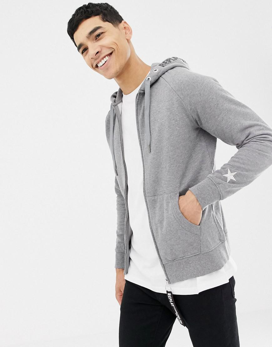 bcb30bc6e Replay - Gray Star Sleeve Zip Thru Hoodie for Men - Lyst. View fullscreen