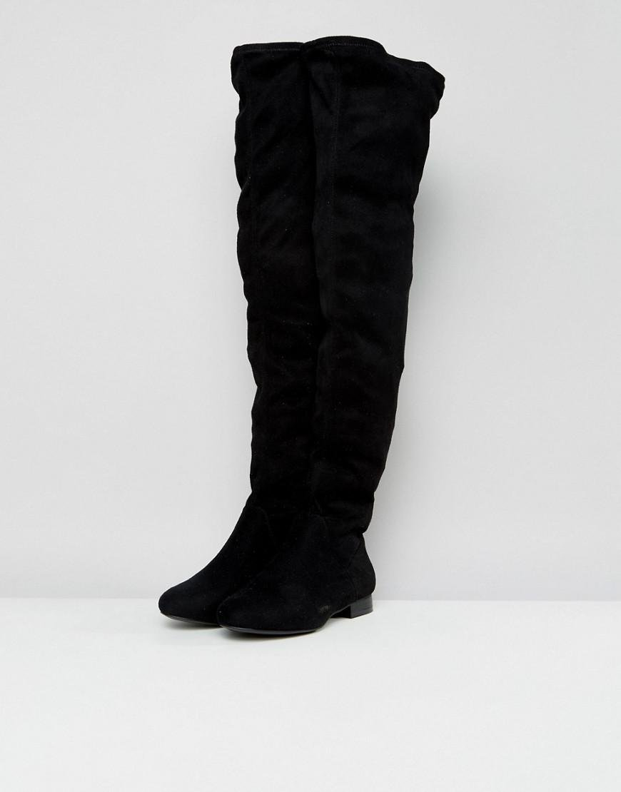 9f6c31afec4 ASOS Asos Kasba Wide Fit Flat Over The Knee Boots in Black - Lyst