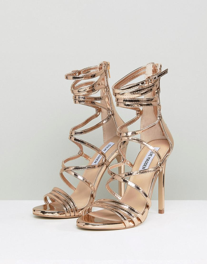 0a491edc692 Lyst - Steve Madden Flaunt Heeled Sandals in Metallic