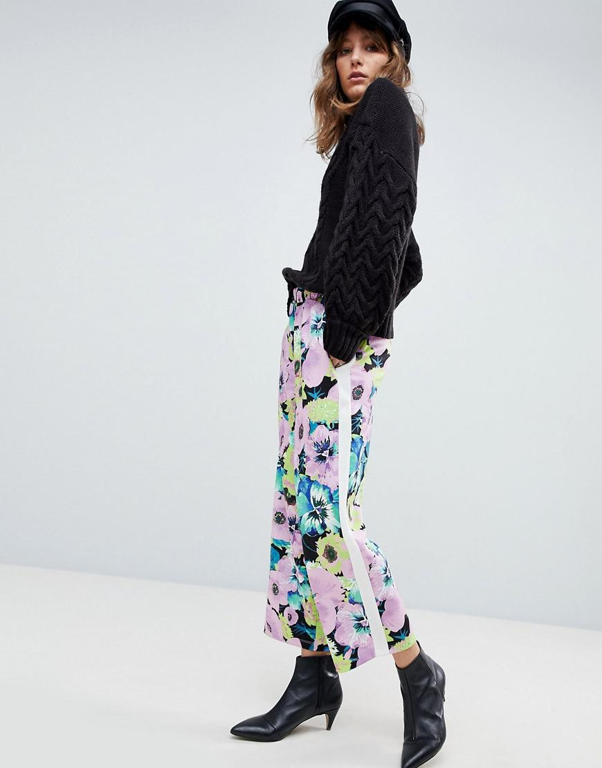 Floral Print Scuba Culotte Trousers with Side Stripe - Floral Asos o3hrDSifp
