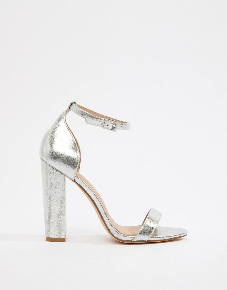 3011a4c7bd8b Lyst - ASOS Highball Barely There Block Heeled Sandals in Metallic