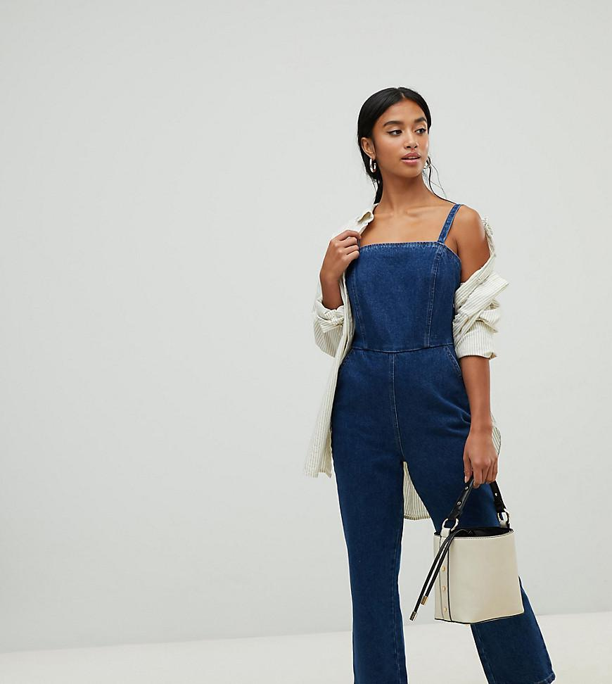 bb8923f987e6 ASOS Asos Design Petite Denim Jumpsuit With Strappy Back In Midwash ...