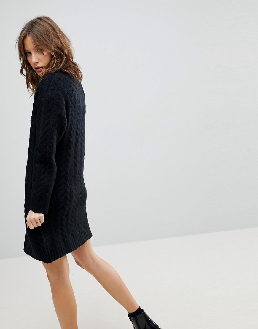 7d40adab3b9 Lyst - ASOS Asos Oversized Knitted Dress With Cable Detail in Black