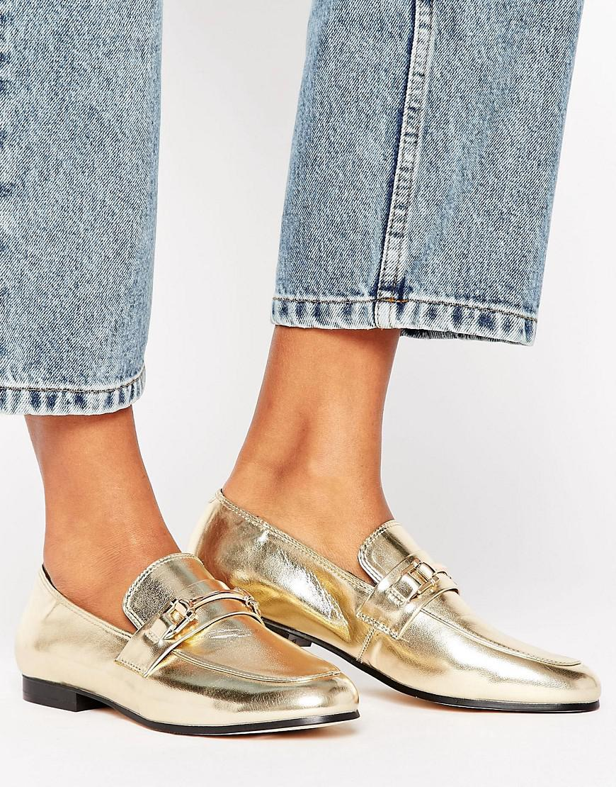 Women Miss Selfrdige Metal Bar Loafer Loafers Gold Discount