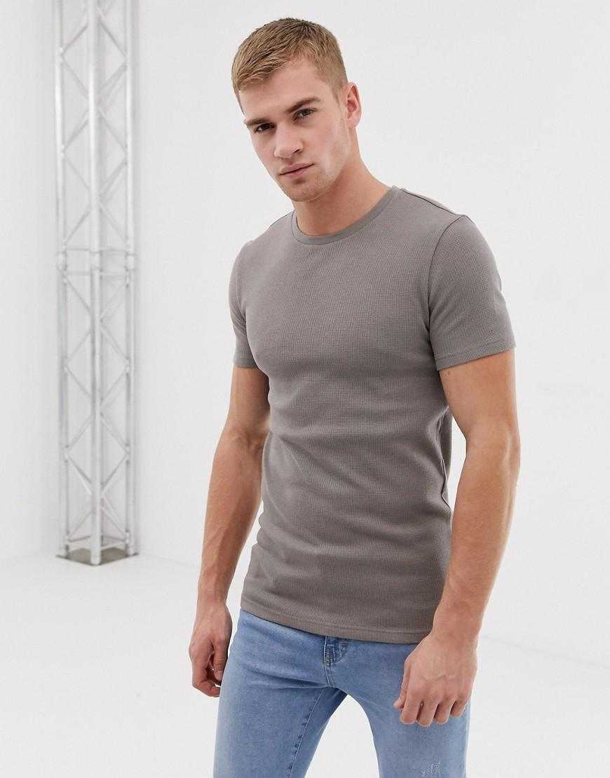 412e1519ef9 ASOS Muscle Fit Crew Neck T-shirt With Stretch In Waffle In Beige in ...