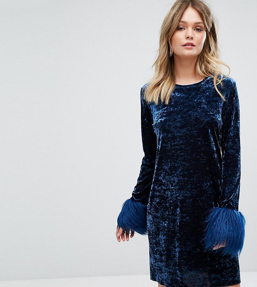 da9bd0f6fae3b Anna Sui Exclusive Crushed Velvet Mini Dress Wih Fur Cuff in Blue - Lyst