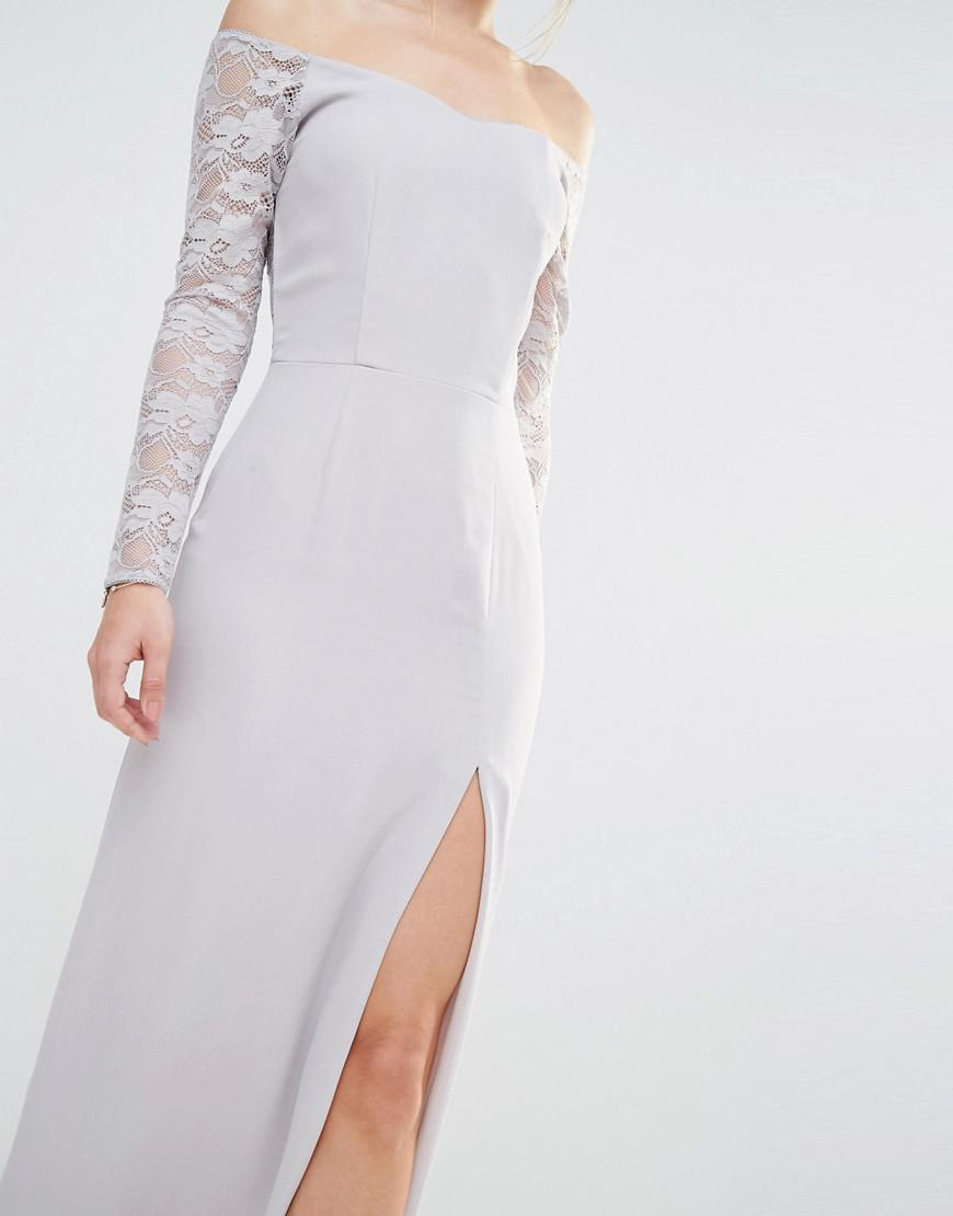 Lyst Elise Ryan Off Shoulder Maxi Dress With Lace Sleeve